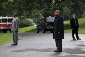 Secret Service stand guard